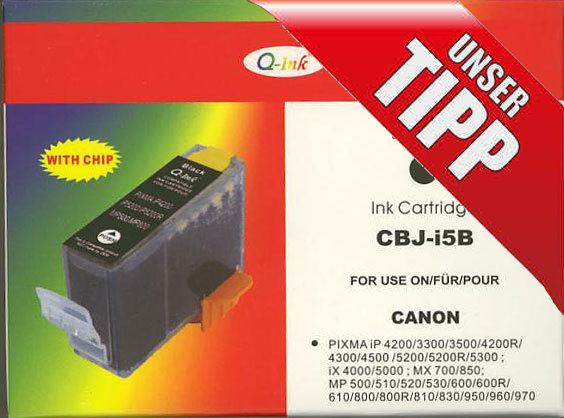 Q-INK CBJ-i5B ersetzt Canon PGI-5BK Druckerpatrone Black
