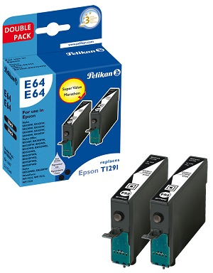 Pelikan E64/E64 2er Pack ersetzt Epson T1291 schwarz NEU